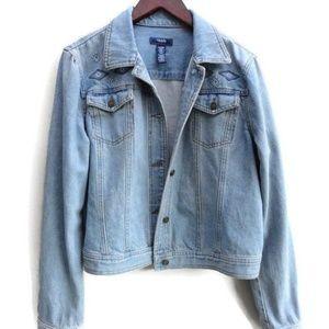 Tribal Denim Jacket -Aztec print Jeans coat M/L
